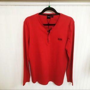 Hugo Boss NWT Red Crewneck Long-Sleeve Polo Tee